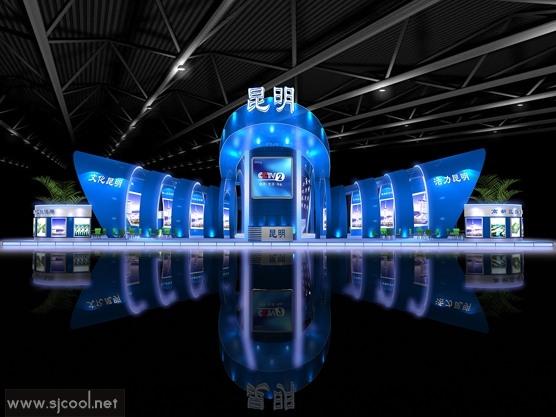 舞台设计 展览设计 效果图设计 昆明cctv2特装展厅效果图