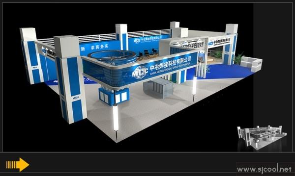 中冶焊接科技公司展台设计效果图--零距离展会网