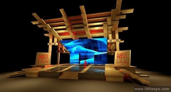 舞台设计 展览设计 效果图设计 木结构立体超强舞台设计