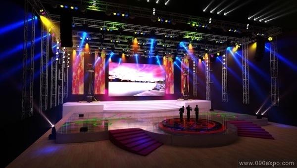 前面圆形侧台阶舞台设计