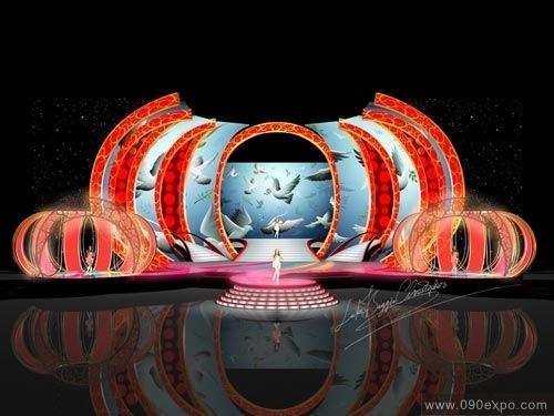 展览设计 效果图设计 西瓜造型湖卫春晚舞台设计