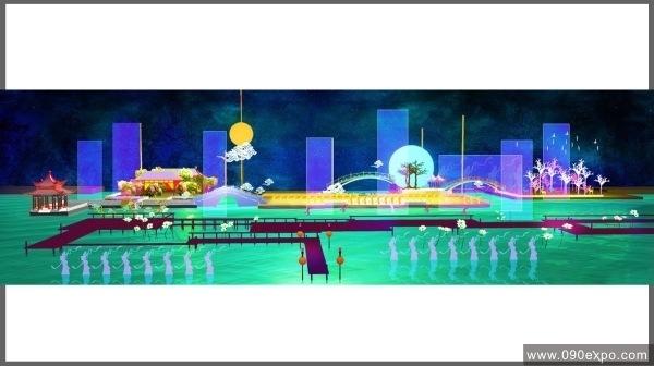 舞台设计 展览设计 效果图设计 北京圆明园山水实景演出舞台设计