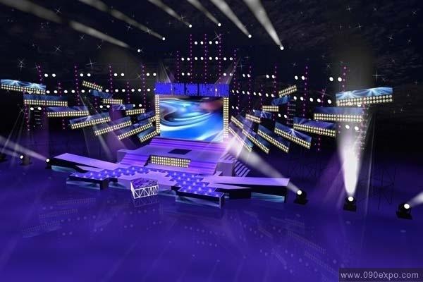 舞台设计 展览设计 效果图设计 彩幕与par灯组合大型舞台设计图