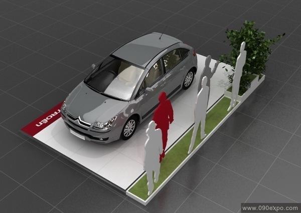 舞台设计 展览设计 效果图设计 雪铁龙展示厅展台布置