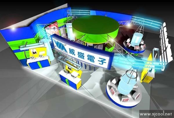 设计图库-威盛电子展览设计效果图-零距离展会网