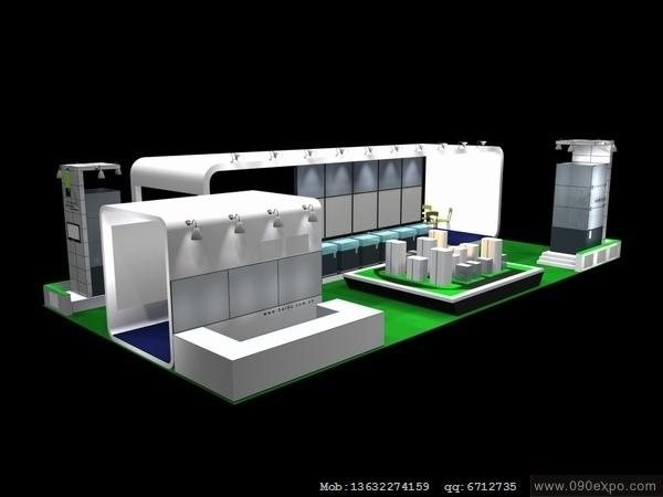 舞台设计 展览设计 效果图设计 ex153展位模型设计3d