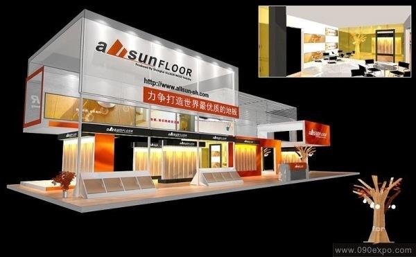 设计图库-allsun地板展示搭建设计-零距离展会网