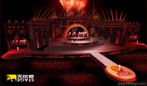 展览设计 效果图设计 司马迁-杯全国首届锣鼓大赛舞美设计-中国韩城a